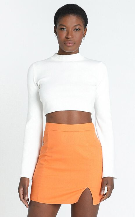 International Babe Skirt in Tangerine Linen Look
