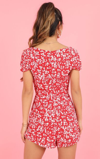 Eye Candy Playsuit in red floral - 20 (XXXXL), Red, hi-res image number null