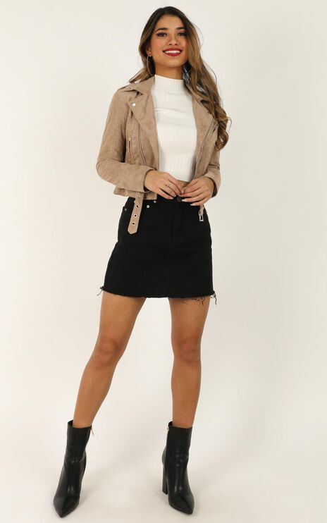 Rocker Chick Jacket In Taupe Suedette