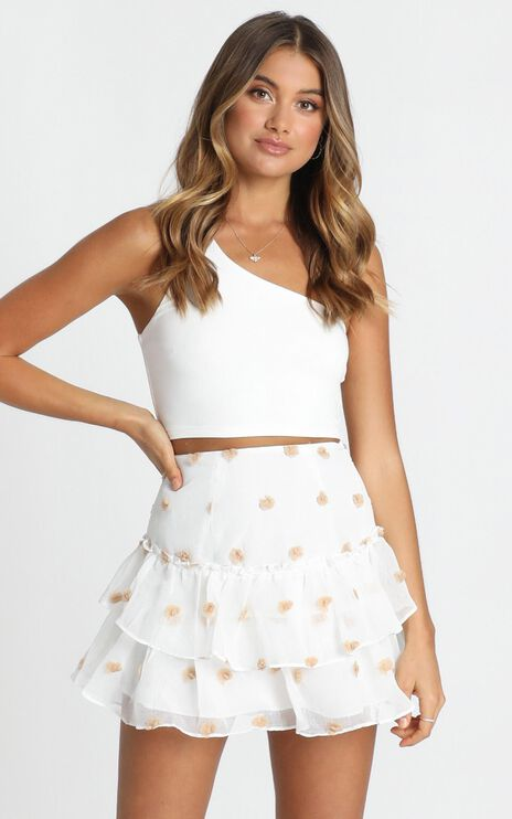 Collette Frill Skirt In White Floral