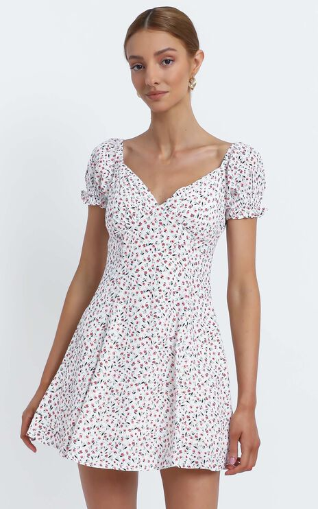 Siena Dress in White Floral