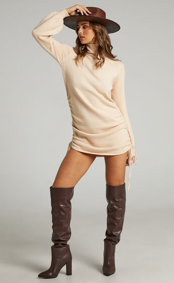 Melidy Turtle Neck Knit Dress in Taupe