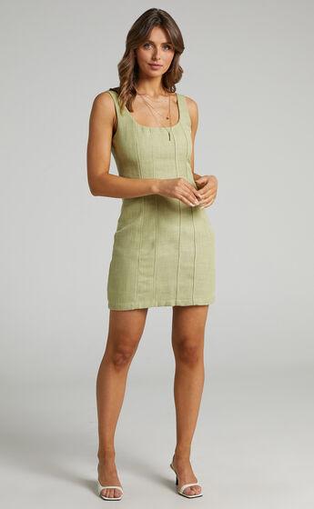 Nimby Mini Panelled Tweed Dress in Green Tweed