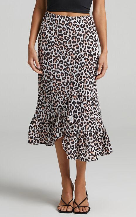 Keep Me Amused Midi Skirt In Leopard Print