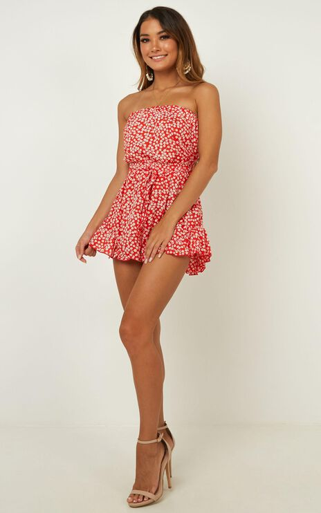 Pretty Little Lies Playsuit In Red Print