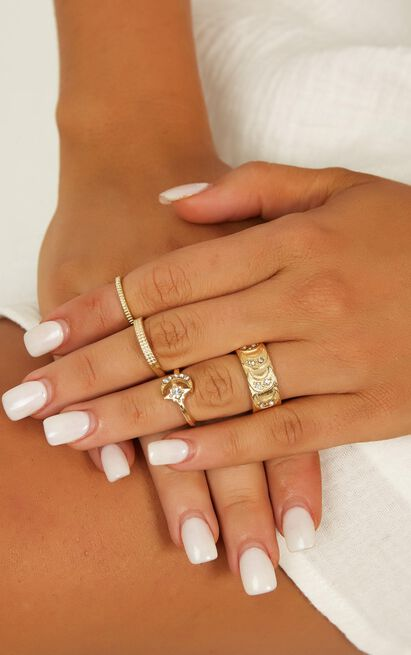 Name In Lights Midi Ring Set In Gold, , hi-res image number null