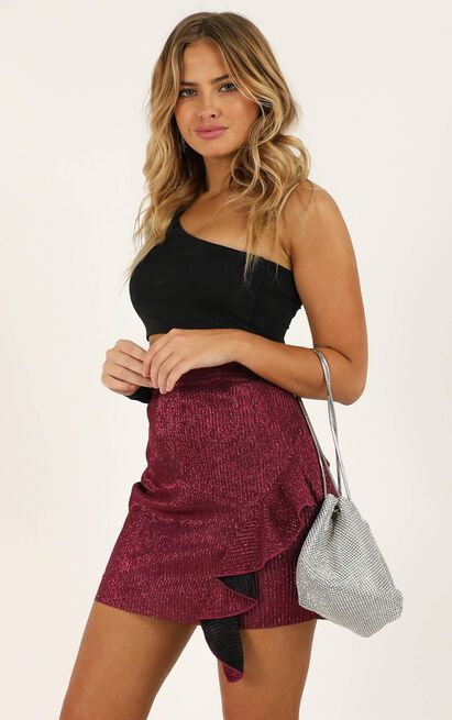 Thats Rich Skirt in fuchsia lurex - 18 (XXXL), Red, hi-res image number null