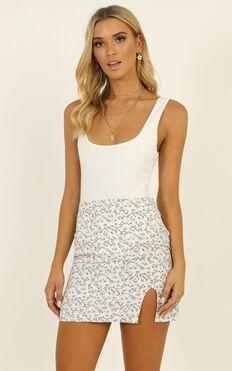 Major Comeback Mini Skirt In White Floral
