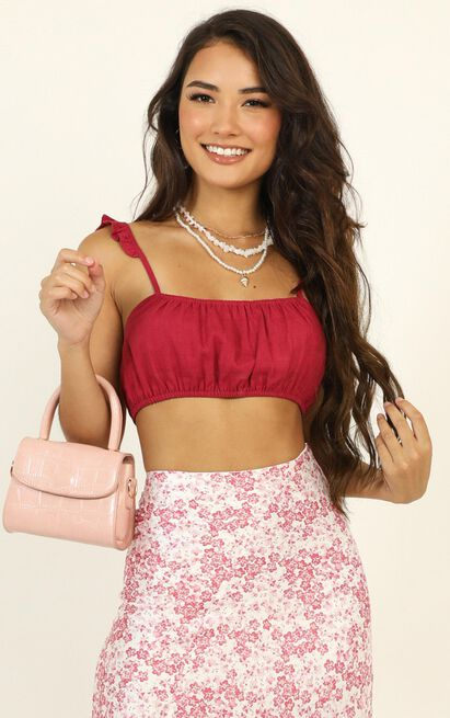 Heart Locked Up Top in berry - 14 (XL), Red, hi-res image number null