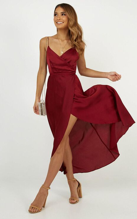 The Countess Dress In Wine Satin