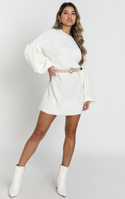 Fearless Now knit dress in cream - 20 (XXXXL), Cream, hi-res image number null