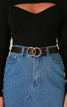 Love Drunk belt in black and gold