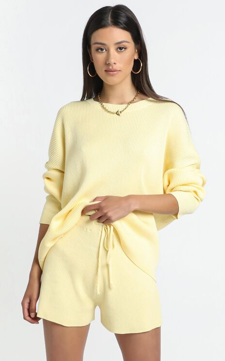 Lullaby Club - Alex Knit Shorts in Lemon