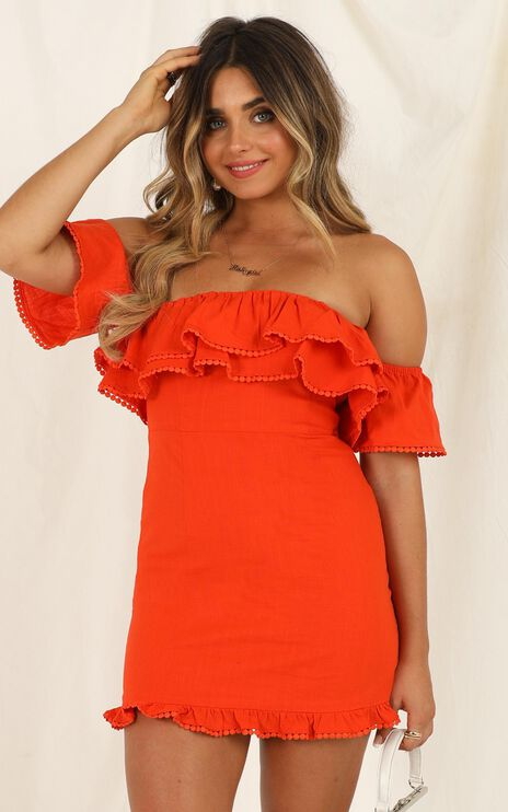 Youre My Butterfly Dress In Tangerine Linen Look
