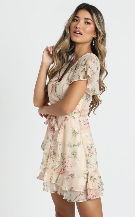 Kathleen Mini Dress In Beige Floral