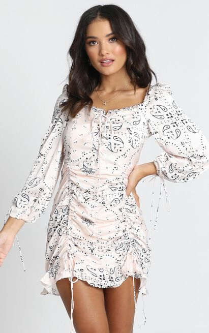 Lioness - Feng Shui Dress In Cream Print - 12 (L), Cream, hi-res image number null
