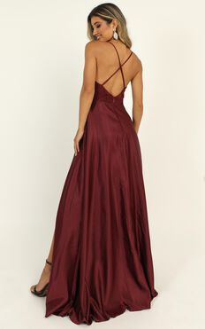 Hope For The Future Maxi Dress In Wine Lace