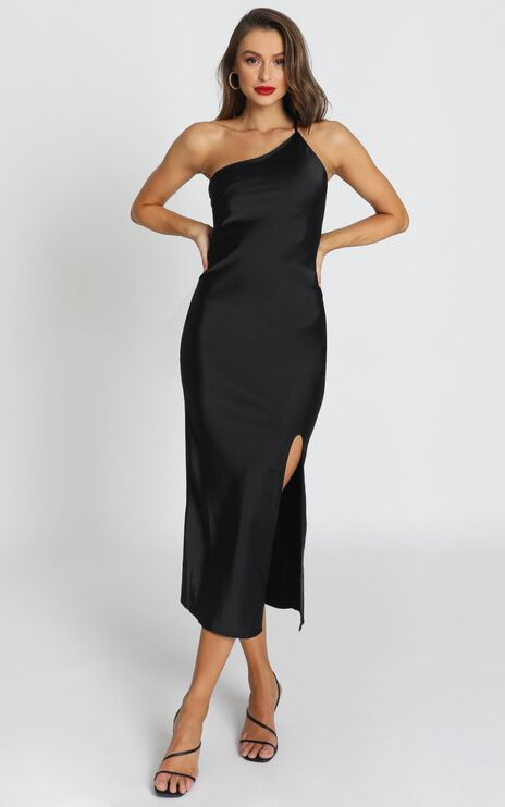Look me Up Dress In Black Satin