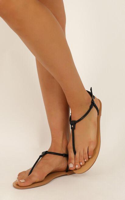 Billini - Clarita Sandals in black reptile texture - 10, Black, hi-res image number null