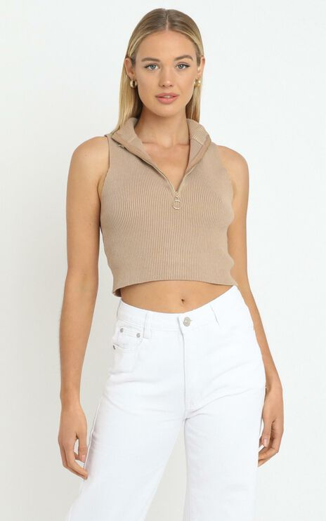 Cyril Knit Top in Tan