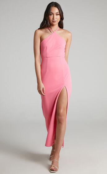 Anica Thigh Split Maxi Dress in Pink