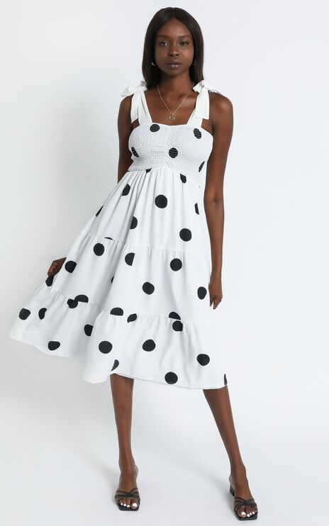 Sykes Dress in White Polka