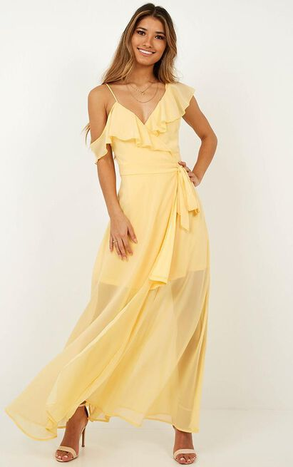 Luxury Life Maxi Dress in Lemon - 14 (XL), Yellow, hi-res image number null
