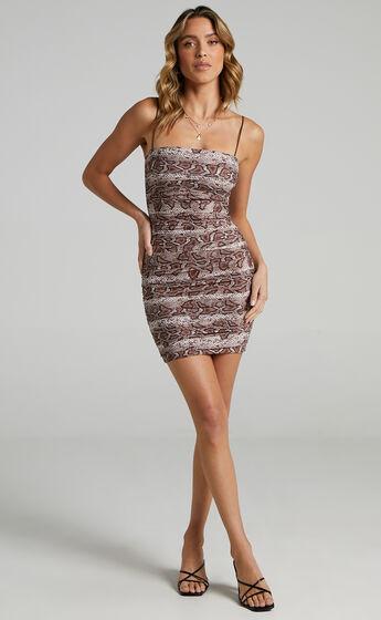 Ebby Mini Dress in Snake Print
