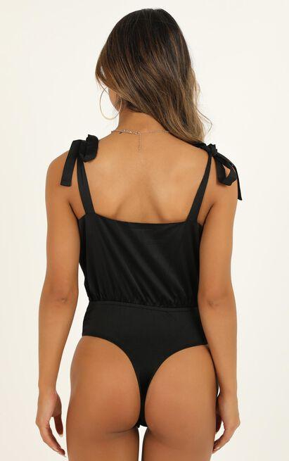 Stuck In Her Head Bodysuit in black satin - 14 (XL), Black, hi-res image number null