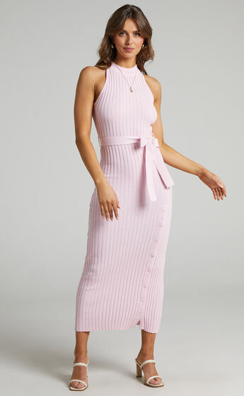 Verona High Neck Maxi Knit Dress with Button Up Split in Ice Pink