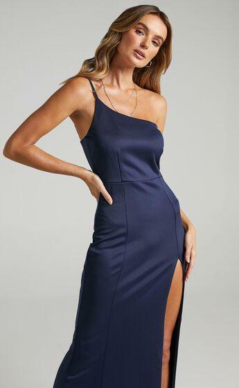 No Ones Fault One Shoulder Maxi Dress in Navy