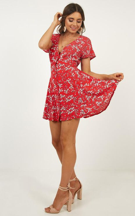 Break Away Dress In Red Floral