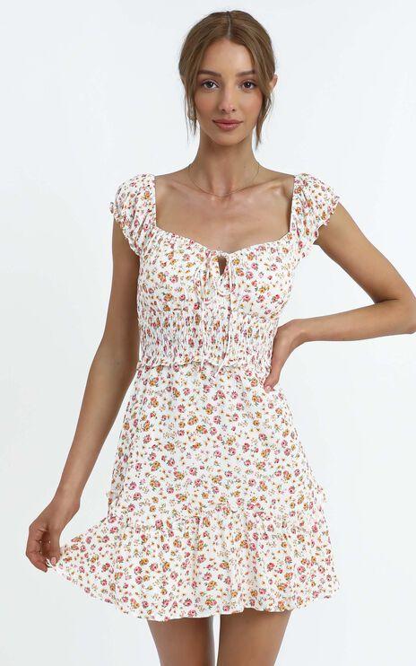 Althia Dress in White Floral