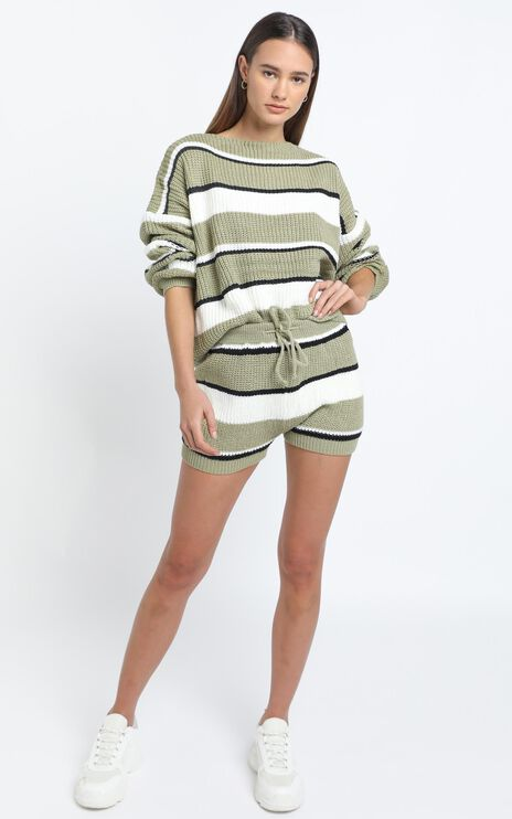 Eeva Two Piece Set in Green Stripe