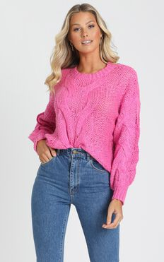 Jules Cable Knit Jumper in Hot Pink