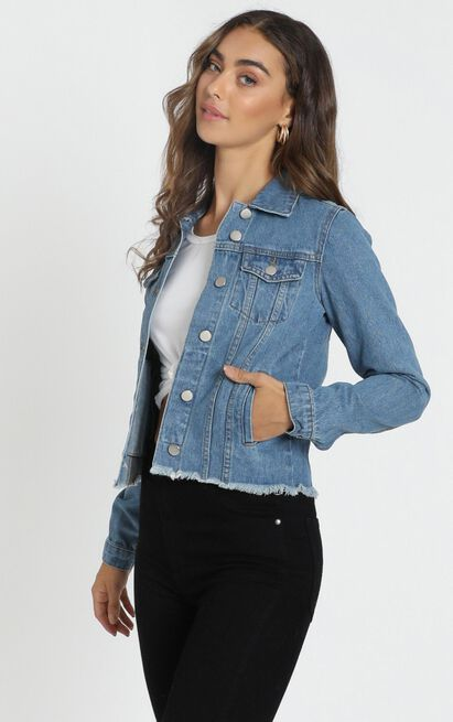 Alone Star Jacket In Mid Wash Denim - 4 (XXS), Blue, hi-res image number null