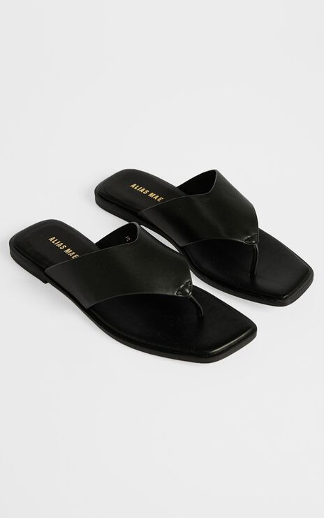Alias Mae - Tuesday Sandals in Black Kid Leather