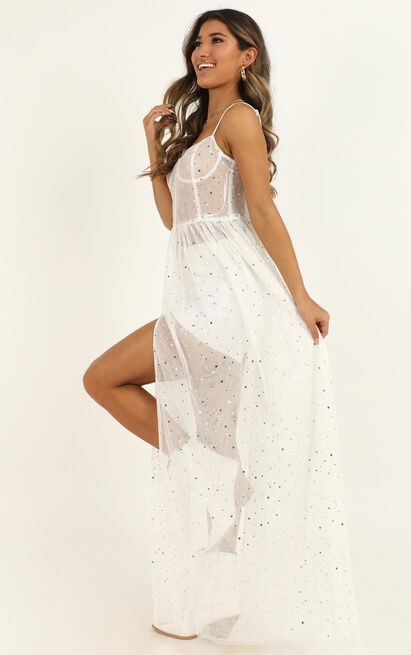 Stunning View Maxi Dress in white mesh - 8 (S), White, hi-res image number null