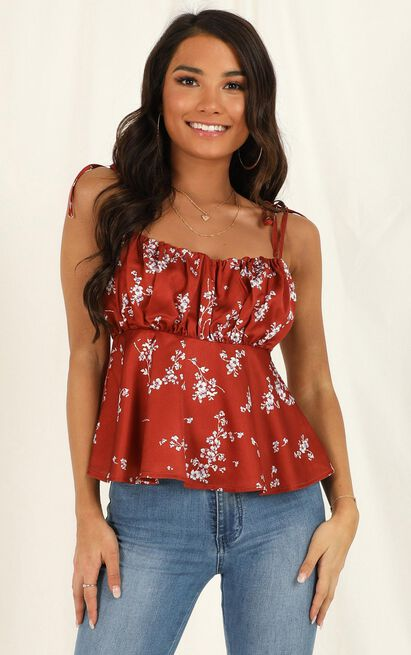 Nothing Holding Me Back top in rust floral - 12 (L), Rust, hi-res image number null