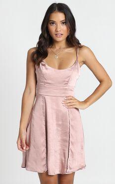 Stronger than Gems Mini Dress In Rose Gold Satin