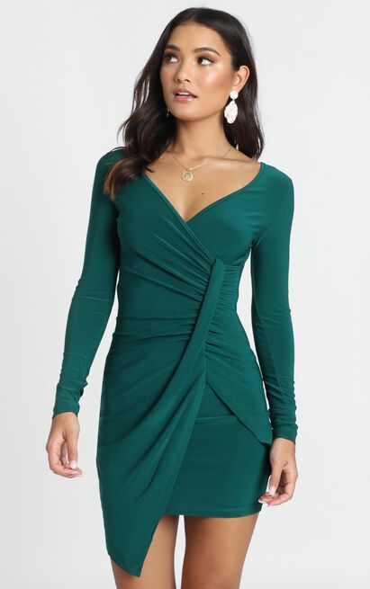 Elle Bodycon Mini Dress in emerald - 12 (L), Green, hi-res image number null