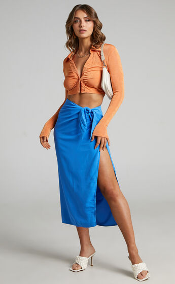 LIONESS - FRENCH KISS TWIST SKIRT in Blue