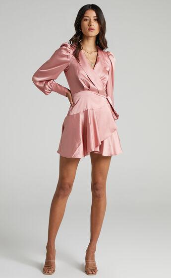 Breeana Wrap Mini Dress in Dusty Pink