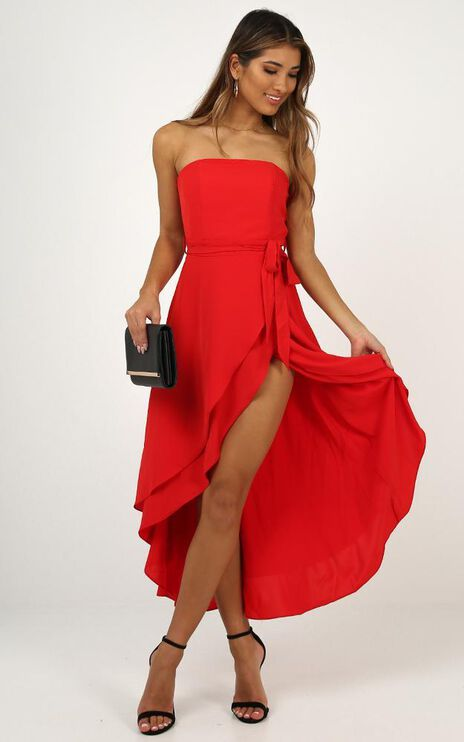 We Can Rule Dress In Red Satin