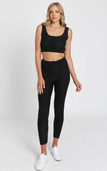 Cassidy Knit Two Piece Set in Black - S, Black, hi-res image number null