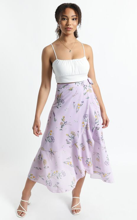 Add To The Mix Skirt in Lavender Botanical Floral