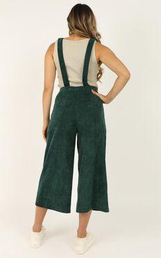 Dream Big Jumpsuit In Emerald Cord