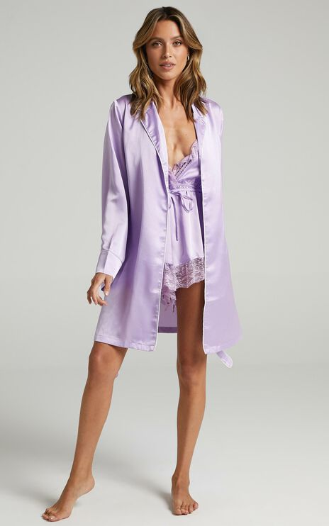 Nap Time Robe in Lilac Satin