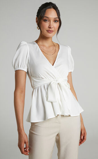 Betts Puff Sleeve Asymmetric Tie Front Peplum Top in White