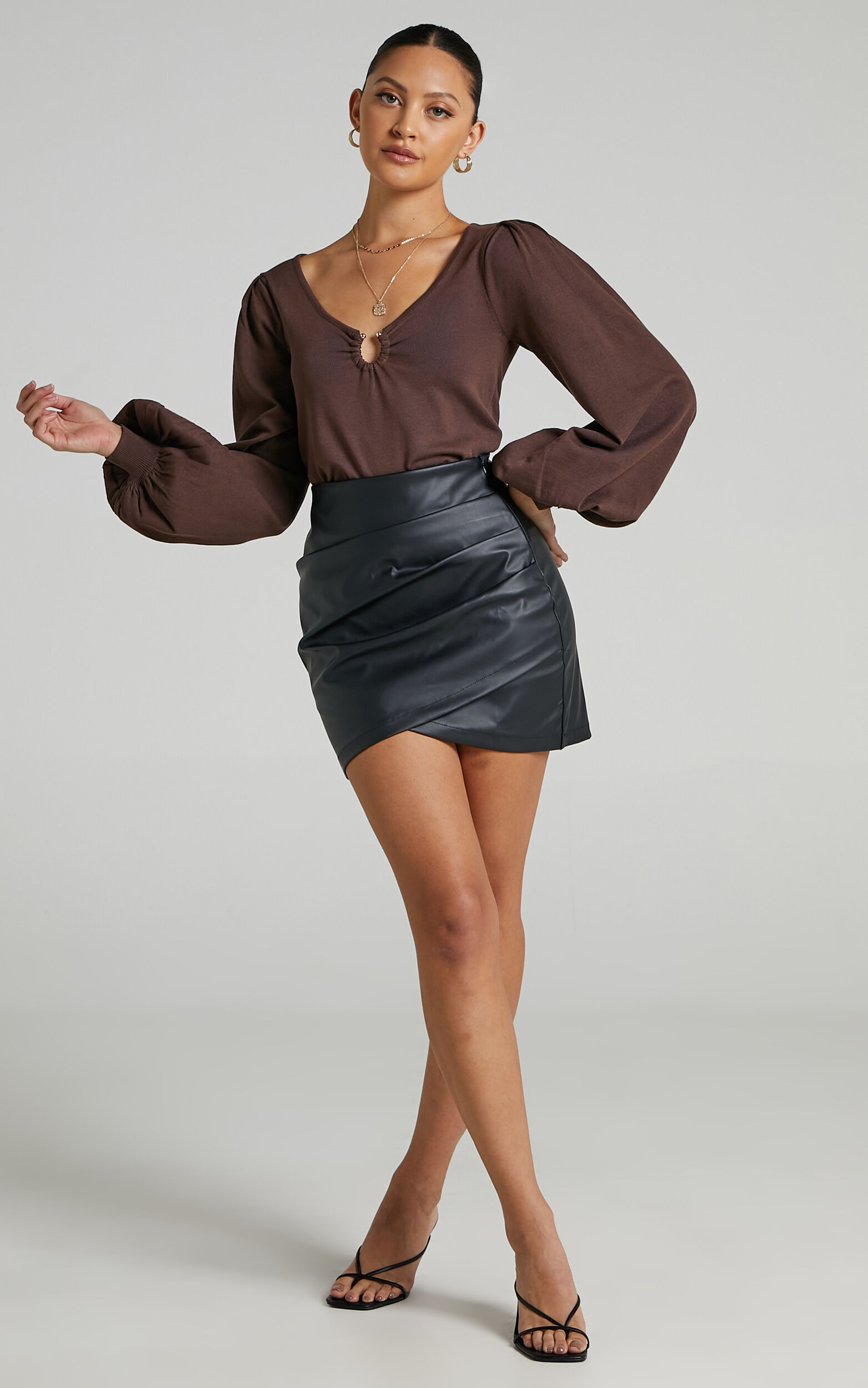 Flic Long Sleeve Key Hole Top in Chocolate - 06, BRN1, super-hi-res image number null